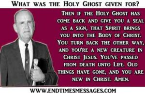 What was the Holy Ghost given for?