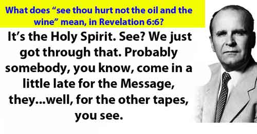 "What does ""see thou hurt not the oil and the wine"" mean, in Revelation 6:6?"