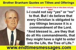 Brother Branham Quotes on Tithes and Offerings